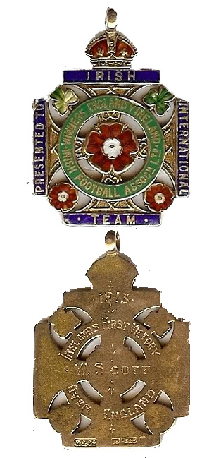 Billy Scott's medal awarded to the victorious Ireland team by the IFA for defeating England for the first time.  Source: Roy Cathcart