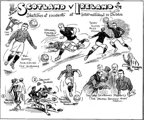 This cartoon published in 'Ireland's Saturday Night' depicts scenes from the Ireland v Scotland match in Dublin.