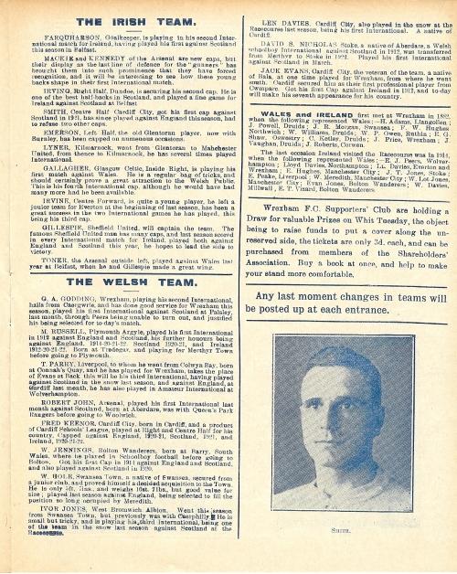 Wales v Ireland Programme 1923  (3)