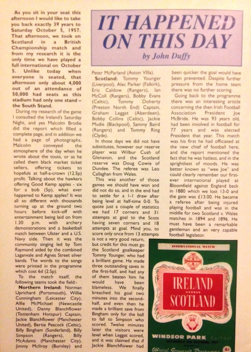 John Duffy - Secretary at Northern Ireland Programme Collectors Club